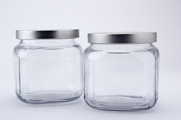Two faceted jars