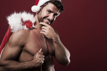 Happy and handsome santa claus