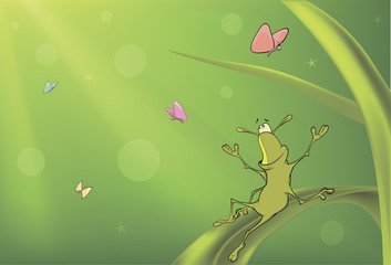 A green bug and butterflies cartoon