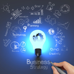 hand drawing business strategy and  light bulb with gears as con