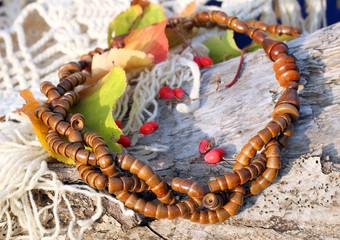 Ethnic handmade wooden necklace