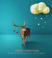 Christmas Card. Geometric polygonal reindeer.