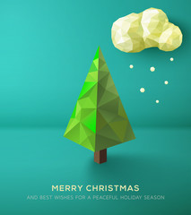 Christmas Card. Geometric polygonal tree.