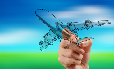 hand drawing airplane on blur blue sky background