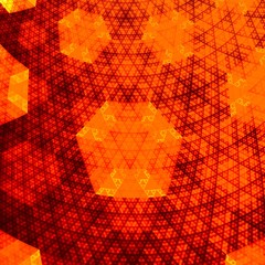 Abstract Orange Hexagonal Fractal Plane - Golden