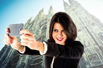 selfie in Milan city