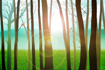 Trees silhouette with mountain and grass land as the background