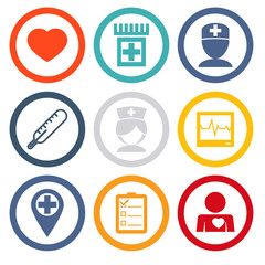 Isolated icons set Medical care and health modern trendy vector