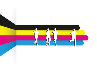 group of runners go a cmyk background