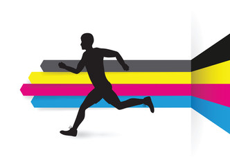 cmyk line arrow background with a running man