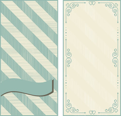 set of invitation cards on vintage background with diagonal line