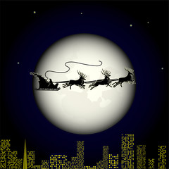 Santa on Christmas night, flying in his sleigh over the city