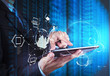 Leinwanddruck Bild - Double exposure of businessman shows modern technology as concep