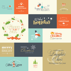 Flat design elements for Christmas and New Year greeting cards