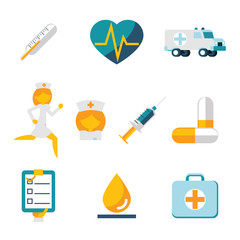 Medical care and health isolated icons set modern trendy flat