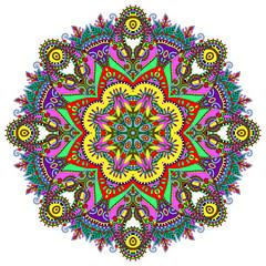 Circle lace ornament, round ornamental geometric doily pattern