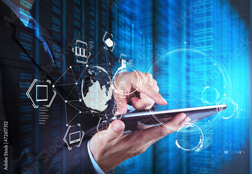 Leinwanddruck Bild Double exposure of businessman shows modern technology as concep