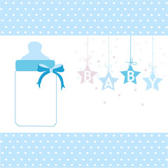 Baby boy greeting card hanging stars and bottle background