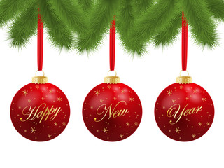 HAPPY NEW YEAR Greeting Card (merry 2015 Christmas gold)