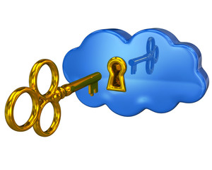 Golden key and blue cloud with a keyhole