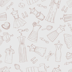 Vector pattern with dresses and accessories in blue