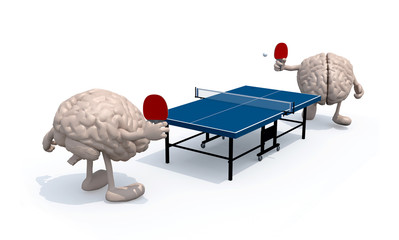 brains with arms and legs that playing to table tennis