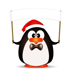 Penguin with Santa's hat for Christmas