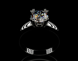 Engagement Ring with Diamond. Fashion Jewelry background