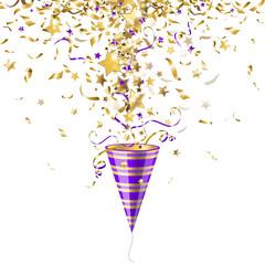party popper with confetti