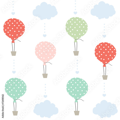 Balloon and clouds pattern vector background - 72618562