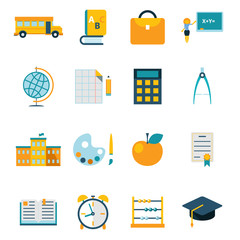 School isolated icons set modern trendy flat vector illustration