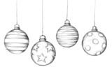 Handgezeichnete Weihnachtsbaumkugeln