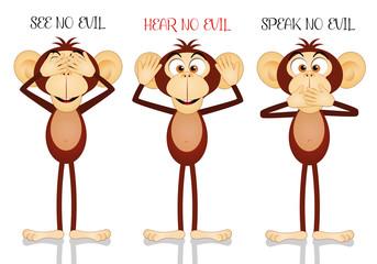 Funny three wise monkeys
