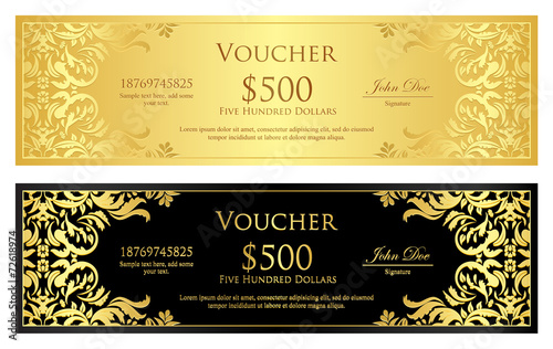 Fototapeta Luxury golden and black voucher with vintage ornament