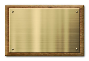 Wood plaque with brass or gold metal plate. Clipping path is