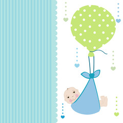 Swaddle baby boy arrival card with balloon greeting vector