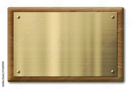 Wood plaque with brass or gold metal plate. Clipping path is - 72619149