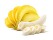 Banana bunch and peeled pieces isolated on white