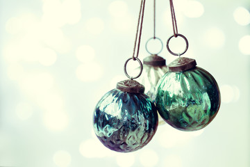 Christmas ornaments with copy space to side
