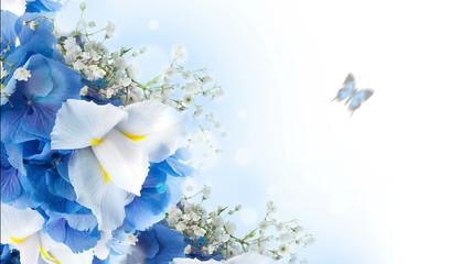 Flowers on a white background, dark blue hand bells