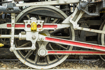 An old japanese steam train wheel