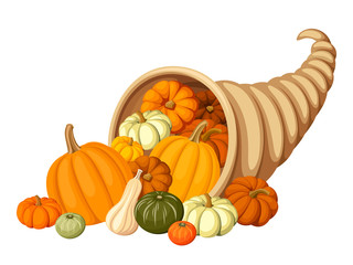Autumn cornucopia (horn of plenty) with pumpkins. Vector.