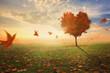 Leinwanddruck Bild - Heart shaped tree during fall