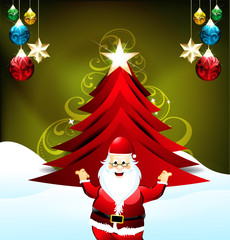 Christmas Tree Background with Santa Claus