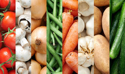 Colourful vegetable food backgrounds collage
