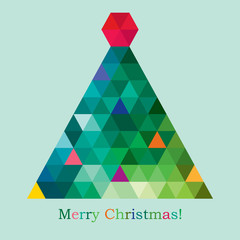 vector geometric new year tree