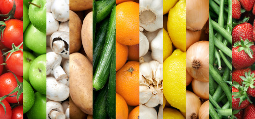 Colourful fruit and vegetable food background collage