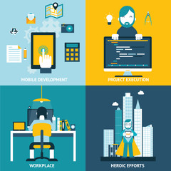 Web development studio workplace concept and web page