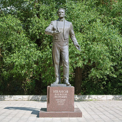 Monument of the opera singer Alexey Ivanov in Bezhetsk, Russia