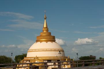 View of Pagoda in Sagaing near Ayeyarwady river and Inwa bridge.